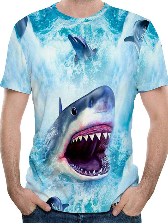 Hot Ferocious Shark Print Short Sleeve T-shirt
