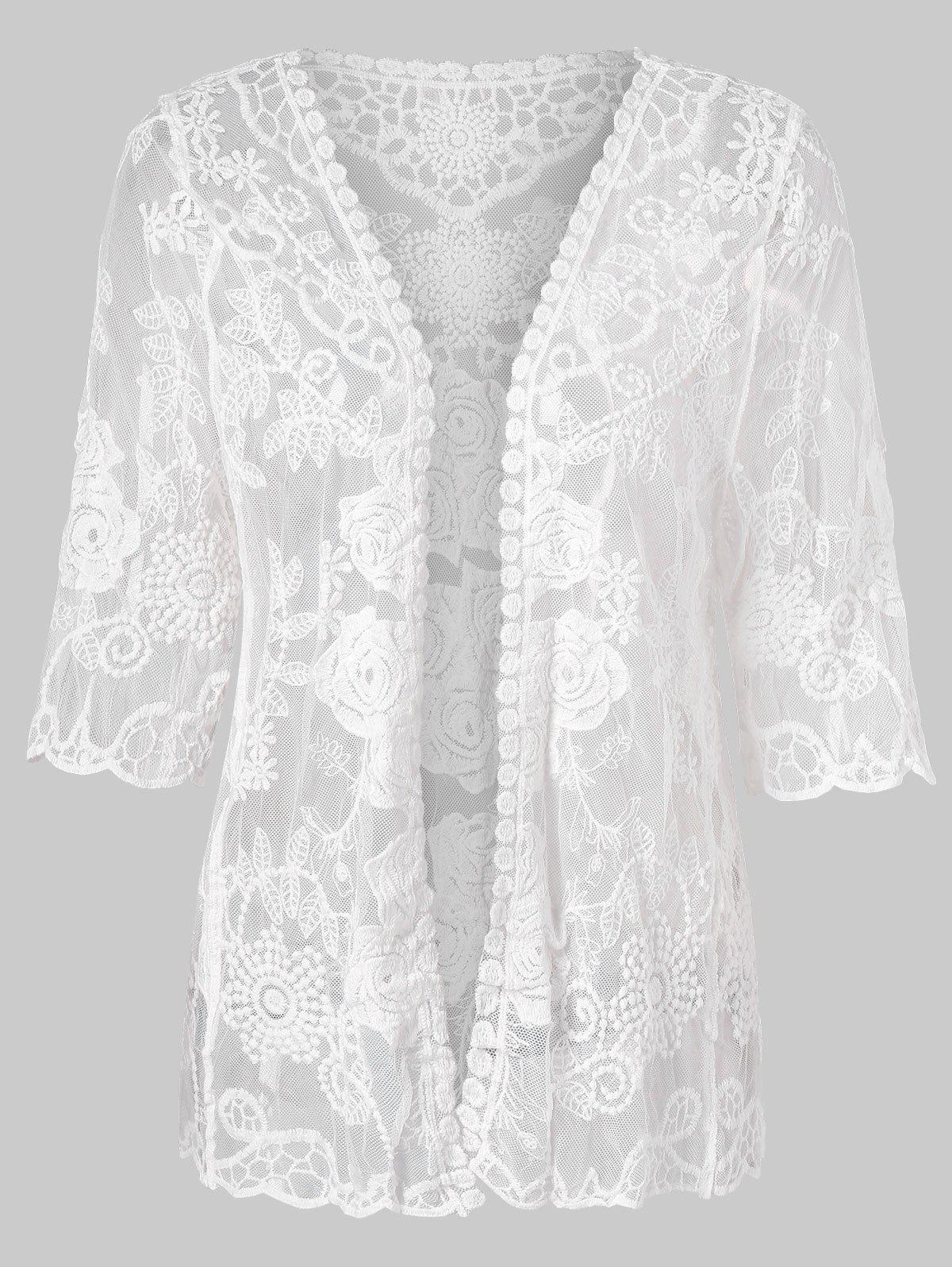 Latest Three Quarter Sleeve Lace Cover Up Top
