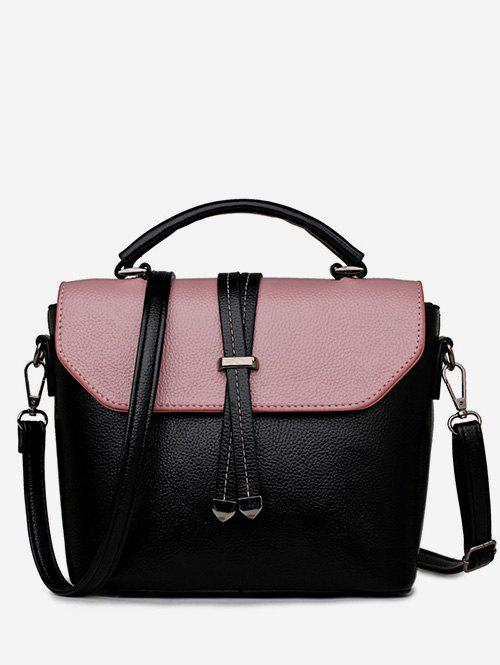 Buy Vintage Color Block PU Leather Crossbody Bag