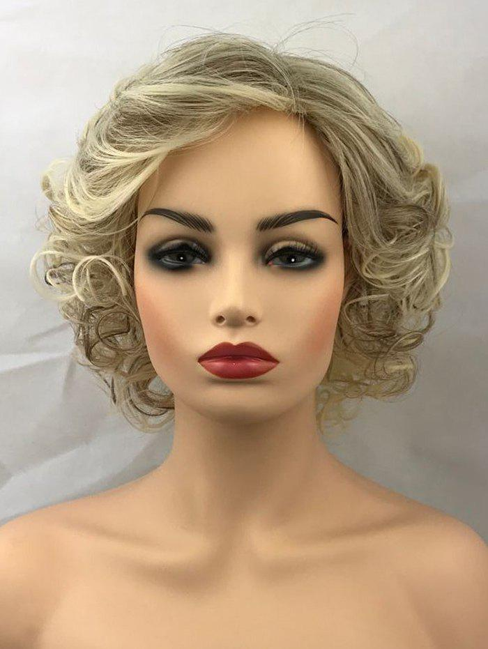 Fancy Short Side Bang Colormix Curly Synthetic Wig