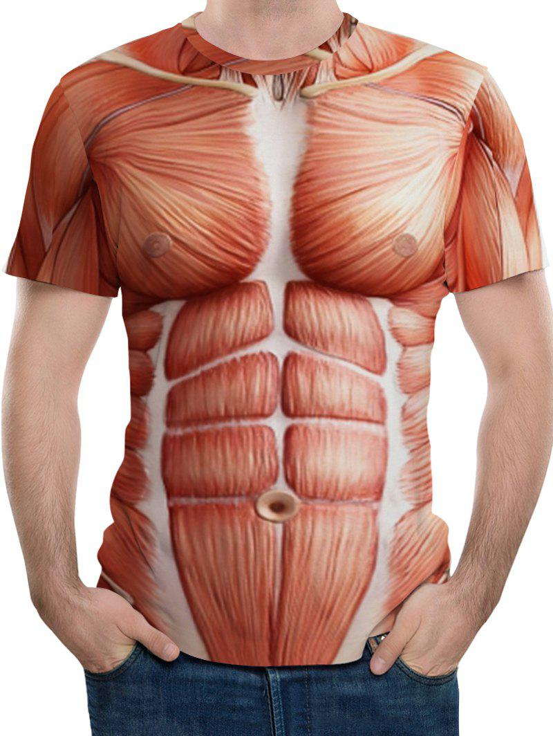 Chic 3D Anatomical Muscle Print Crew Neck T-shirt