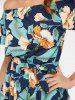 Printed Off Shoulder Flounce Midi Dress -
