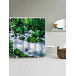 Forest Stream Print Waterproof Bathroom Shower Curtain -