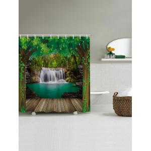 Green Tree Waterfall Print Waterproof Shower Curtain -