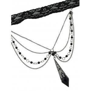 Layered Hanging Rhinestone Beads Lace Choker Necklace -