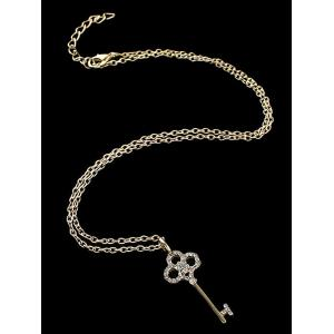 Rhinestone Key Pendant Necklace -