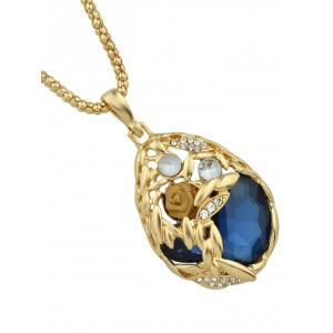 Rhinestone Flower Decoration Water Drop Shaped Hanging Necklace -