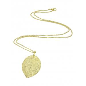 Carved Leaf Pendant Necklace -
