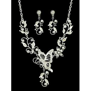 Butterfly Flower Decoration Rhinestone Pendant Necklace with Earrings -