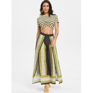 Tribal Print Split  Wide Leg Trousers -