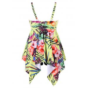 Plus Size Tropical Print Handkerchief Tankini Set -