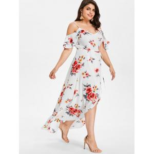 Plus Size Hawaiian Cold Shoulder Maxi Dress -