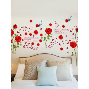 Rose Flower Leaf Butterfly Printed Wall Sticker -