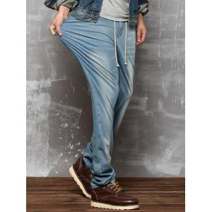 Drawstring Faded Wash Straight Leg Jeans -