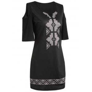 Cold Shoulder Geometry Hollow Out Mini Dress -