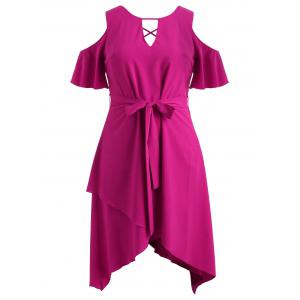 Plus Size Keyhole Criss Cross Overlap Dress -