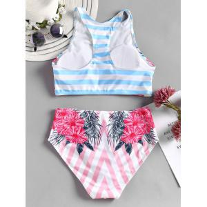 Flower Striped Racerback Bikini Set -