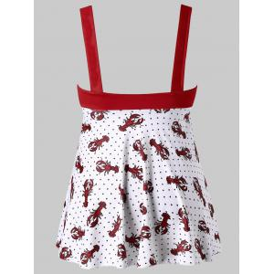 Plus Size Polka Dot Crayfish Print Tankini Set -