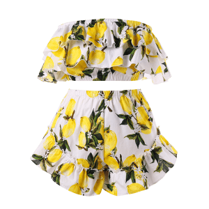 Plus Size Flounce Lemon Print Shorts Set -