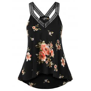 ROSEGAL Plus Size V Neck High Low Tank Top -