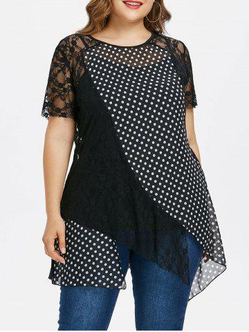 New Plus Size Polka Dot Lace Overlay Top