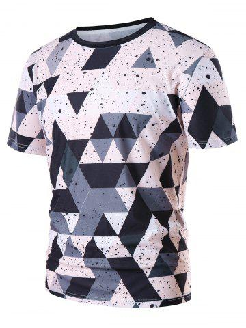 Triangle Ink Splash Print Round Neck T-shirt