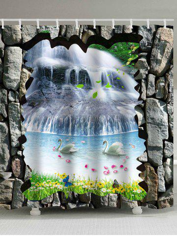 Affordable 3D Waterfall Two Swans Print Waterproof Shower Curtain