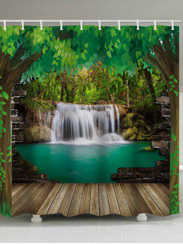 Fashion Green Tree Waterfall Print Waterproof Shower Curtain