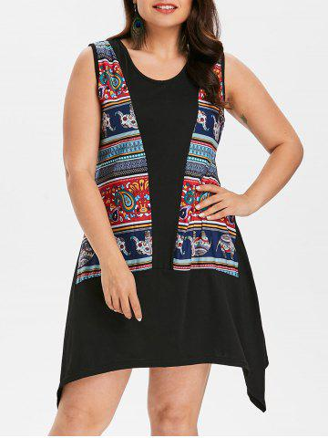 Affordable Plus Size Elephant Asymmetrical Tank Dress