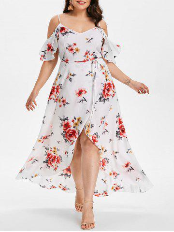 Fashion Plus Size Hawaiian Cold Shoulder Maxi Dress