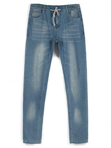Online Drawstring Faded Wash Straight Leg Jeans