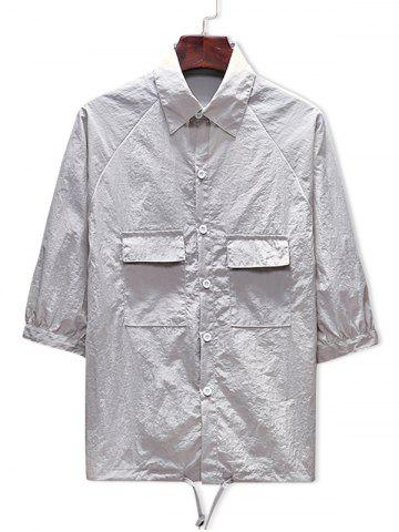 Sale Two Pockets Button Up Drawstring Hem Sunscreen Jacket