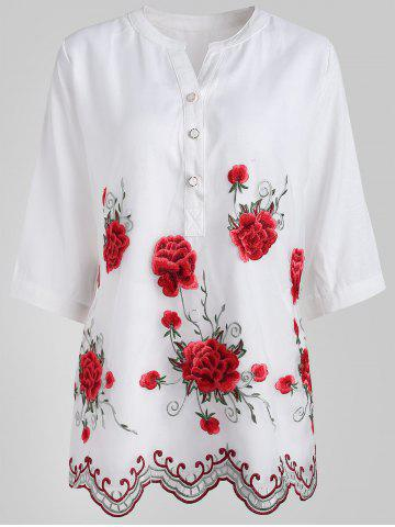 Hot Buttoned Embroidered Blouse