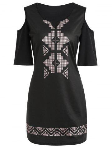Best Cold Shoulder Geometry Hollow Out Mini Dress