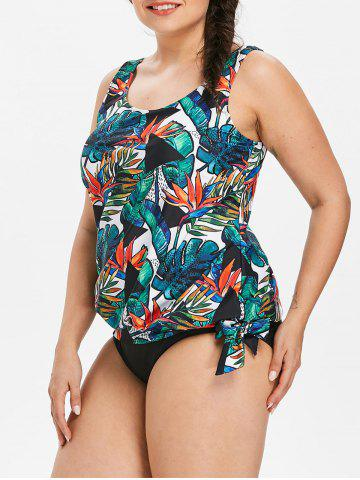 Best Plus Size Tropical Leaf Blouson Tankini Set