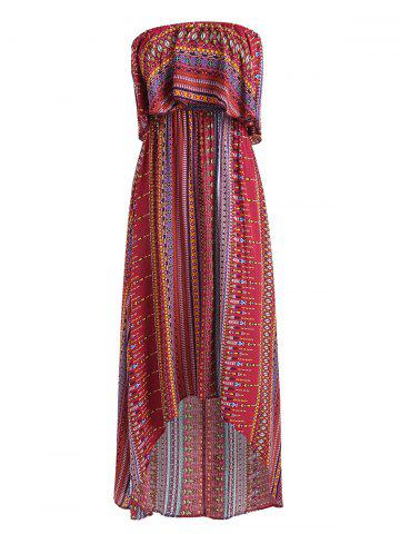 Trendy Tribal Print High Low Strapless Boho Dress