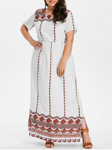 Outfits Plus Size Ethnic Pattern Maxi Dress