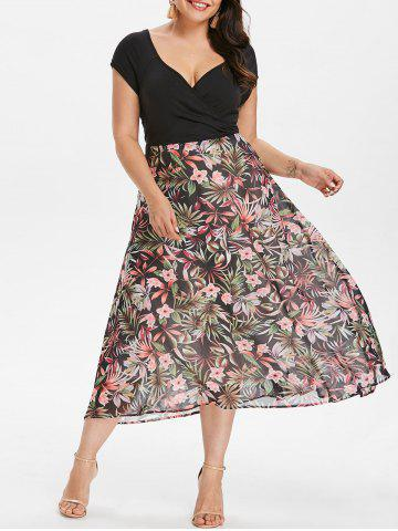 Online Plus Size V-neck Tropical Holiday Dress