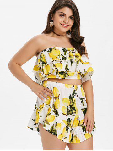 Affordable Plus Size Flounce Lemon Print Shorts Set