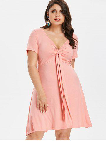 Affordable Plus Size Knot Plunge Dress