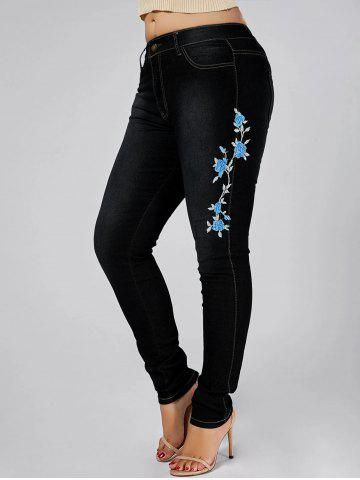 Outfits High Waist Plus Size Flower Embroidered Skinny Jeans