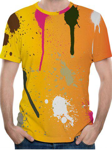 Round Neck Spatter Paint Print T-shirt