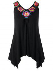 Plus Size Crochet Panel V Neck Tank Top -