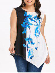 Plus Size Flower Asymmetrical T-shirt -