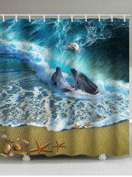 3D Seaside Dolphins Playing Print Shower Curtain -