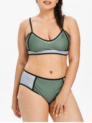 Mesh Panel Plus Size Color Block Bikini Set -