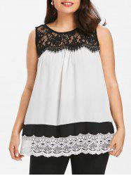 Plus Size Lace Trim Sleeveless Blouse -