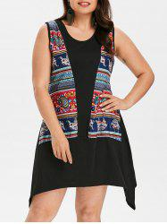 Plus Size Elephant Asymmetrical Tank Dress -