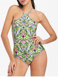 Flower Halter One Piece Swimsuit -