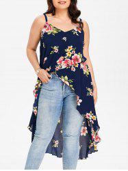 Plus Size Floral Overlap Tank Top -